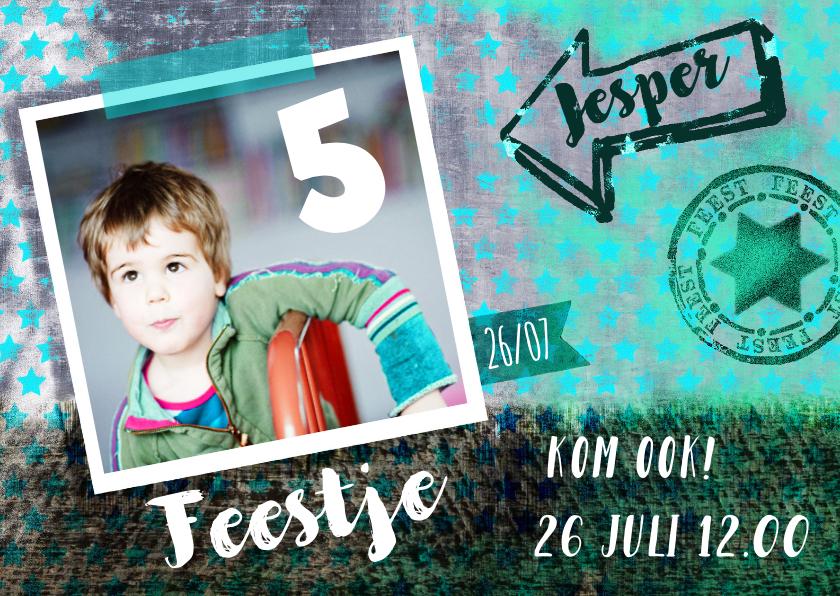 Kinderfeestjes - Kinderfeestje uitnodiging Foto Stoer Sterren