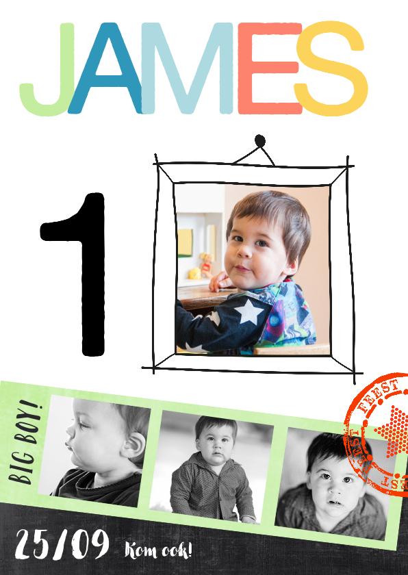 Kinderfeestjes - Kinderfeestje uitnodiging fotocollage James