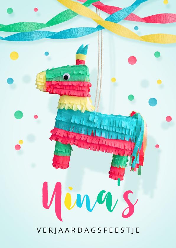 Kinderfeestjes - Kinderfeestje uitnodiging hip ezel piñata voor een meisje