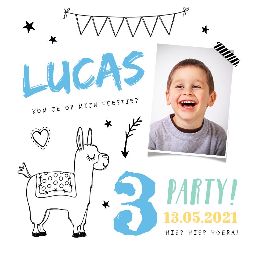 Kinderfeestjes - Kinderfeestje uitnodiging hip jongen met alpaca en foto