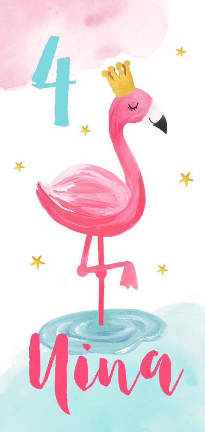 Kinderfeestjes - Kinderfeestje uitnodiging hip voor een meisje met flamingo