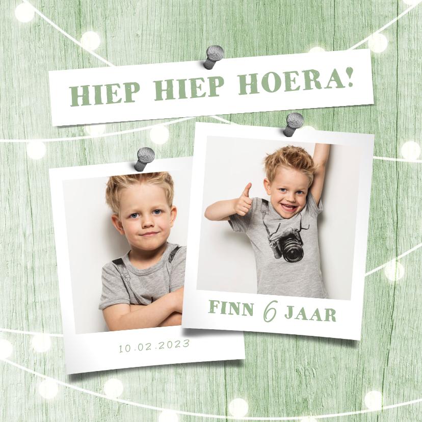 Kinderfeestjes - Kinderfeestje uitnodiging houtlook groen lampjes met foto