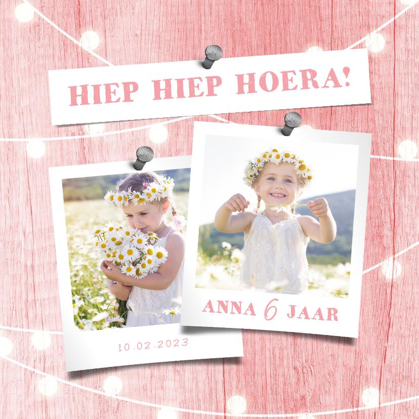 Kinderfeestjes - Kinderfeestje uitnodiging houtlook roze lampjes met foto