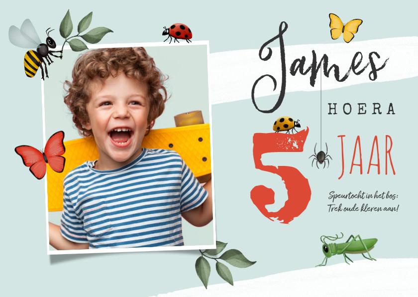 Kinderfeestjes - Kinderfeestje uitnodiging insecten bos speurtocht