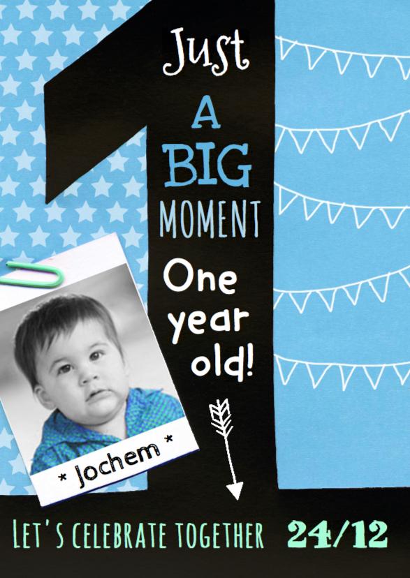 Kinderfeestjes - Kinderfeestje uitnodiging jongen 1 jaar krijt