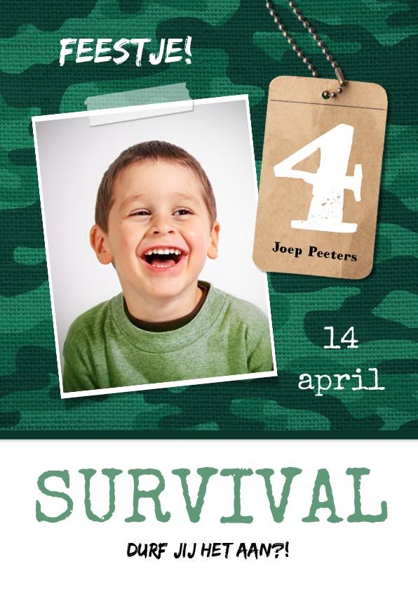 Kinderfeestjes - Kinderfeestje uitnodiging jongen leger survival jungle