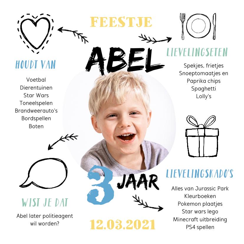 Kinderfeestjes - Kinderfeestje uitnodiging jongen met foto en leuke weetjes