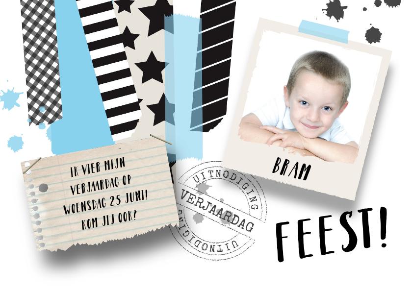 Kinderfeestjes - Kinderfeestje uitnodiging jongen stoer tape foto