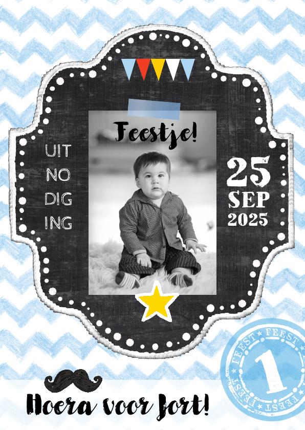 Kinderfeestjes - Kinderfeestje uitnodiging Jort schoolbord
