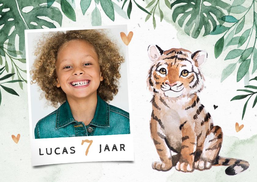 Kinderfeestjes - Kinderfeestje uitnodiging jungle tijger hartjes foto