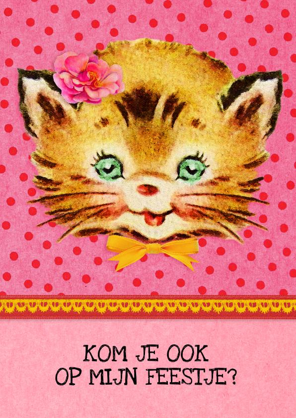 Kinderfeestjes - Kinderfeestje uitnodiging Kat