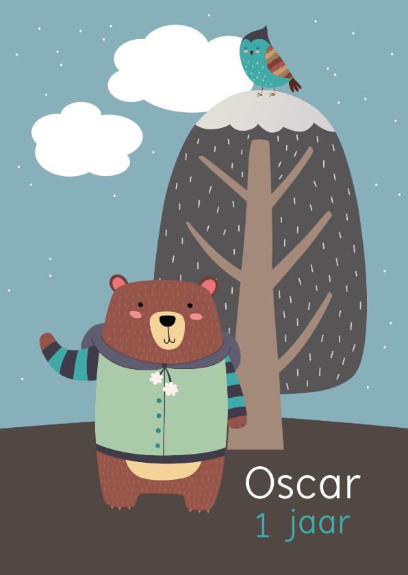 Kinderfeestjes - Kinderfeestje uitnodiging kleine beer winter