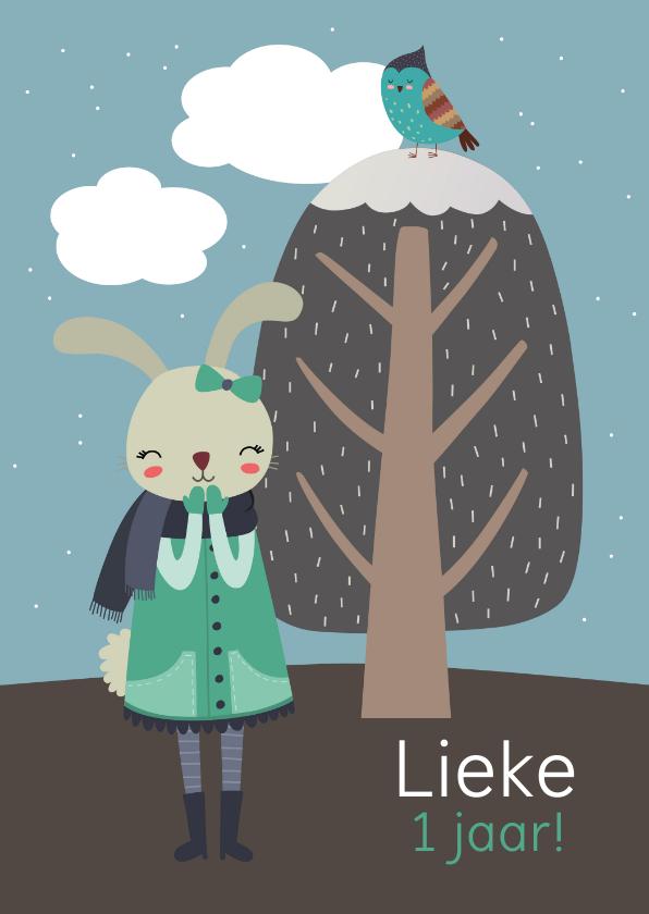 Kinderfeestjes - Kinderfeestje uitnodiging konijn meisje winter