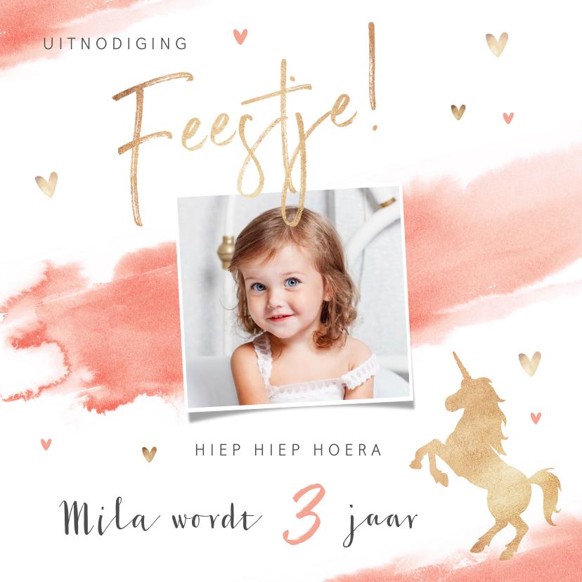 Kinderfeestjes - Kinderfeestje uitnodiging lief roze met hartjes en eenhoorn