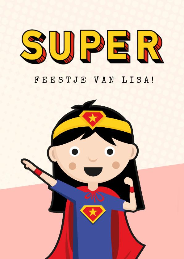 Kinderfeestjes - Kinderfeestje uitnodiging meisje superhelden feestje