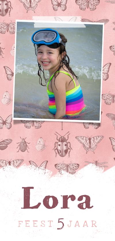Kinderfeestjes - Kinderfeestje uitnodiging meisje vlinders insecten stoer