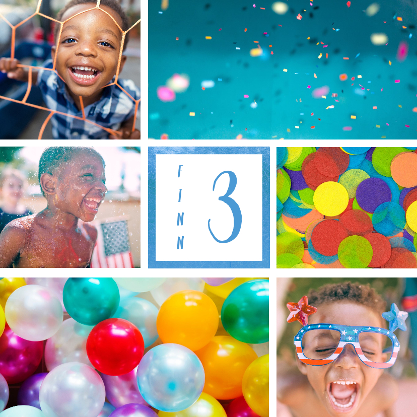 Kinderfeestjes - Kinderfeestje uitnodiging met 6 foto's blauw