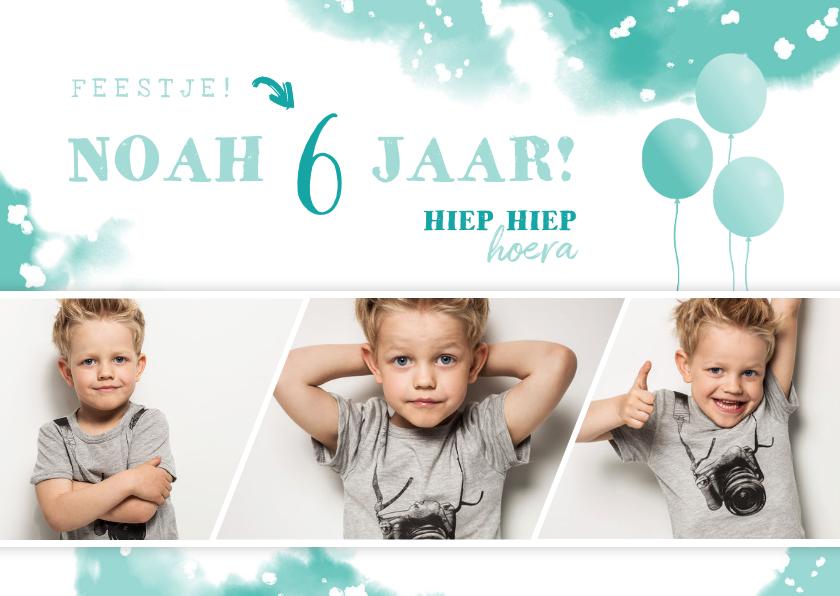 Kinderfeestjes - Kinderfeestje uitnodiging met ballonnen en fotostrip