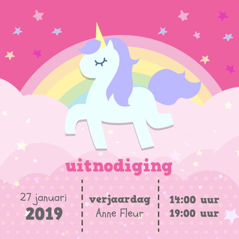 Kinderfeestjes - Kinderfeestje uitnodiging met eenhoorn voor  paardrijden