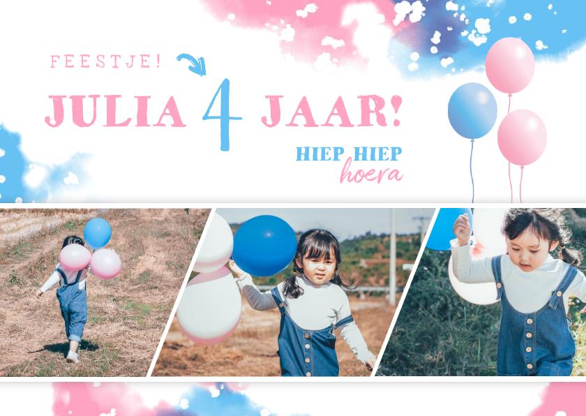 Kinderfeestjes - Kinderfeestje uitnodiging met fotostrip en ballonnen
