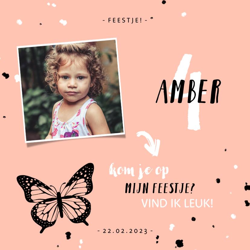 Kinderfeestjes - Kinderfeestje uitnodiging met vlinder, spetters en foto