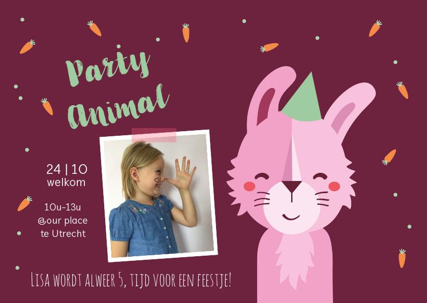 Kinderfeestjes - Kinderfeestje uitnodiging party animal konijn