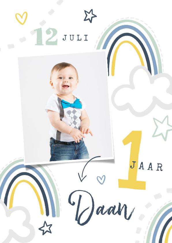Kinderfeestjes - Kinderfeestje uitnodiging regenboog wolken sterren foto