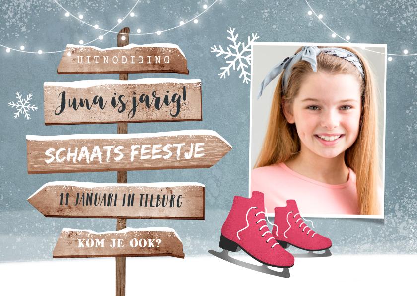 Kinderfeestjes - Kinderfeestje uitnodiging schaatsen wegwijzers winter