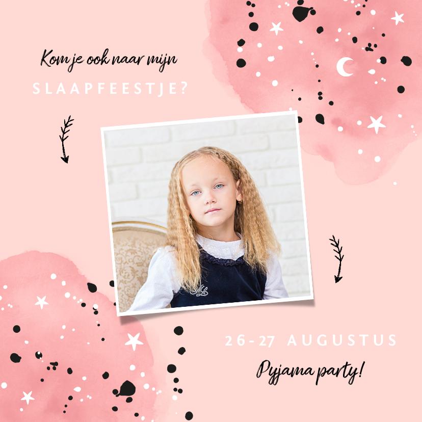 Kinderfeestjes - Kinderfeestje uitnodiging slaapfeestje voor een meisje