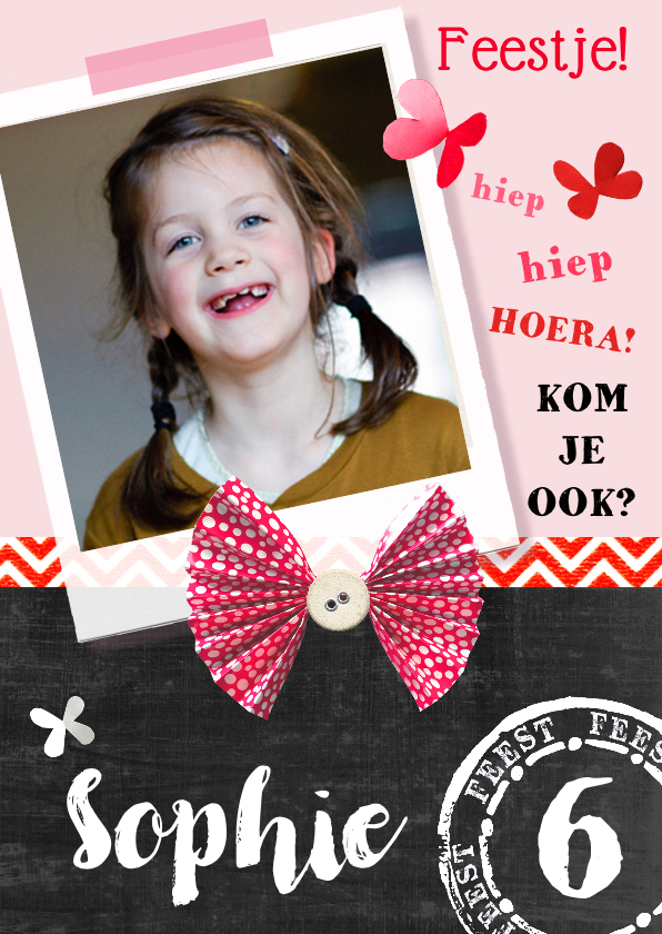 Kinderfeestjes - Kinderfeestje uitnodiging Sophie vlinders