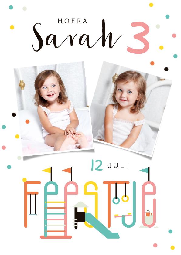 Kinderfeestjes - Kinderfeestje uitnodiging speeltuin confetti vrolijk foto