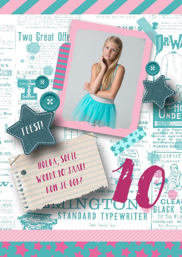 Kinderfeestjes - Kinderfeestje uitnodiging stoer sterren foto meisje