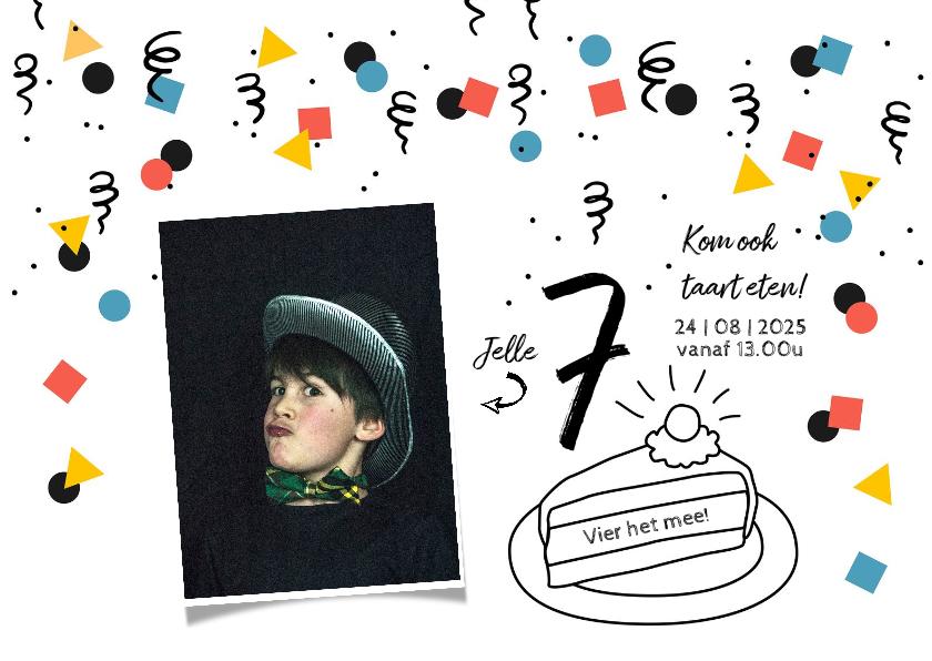 Kinderfeestjes - Kinderfeestje uitnodiging taart confetti jongen