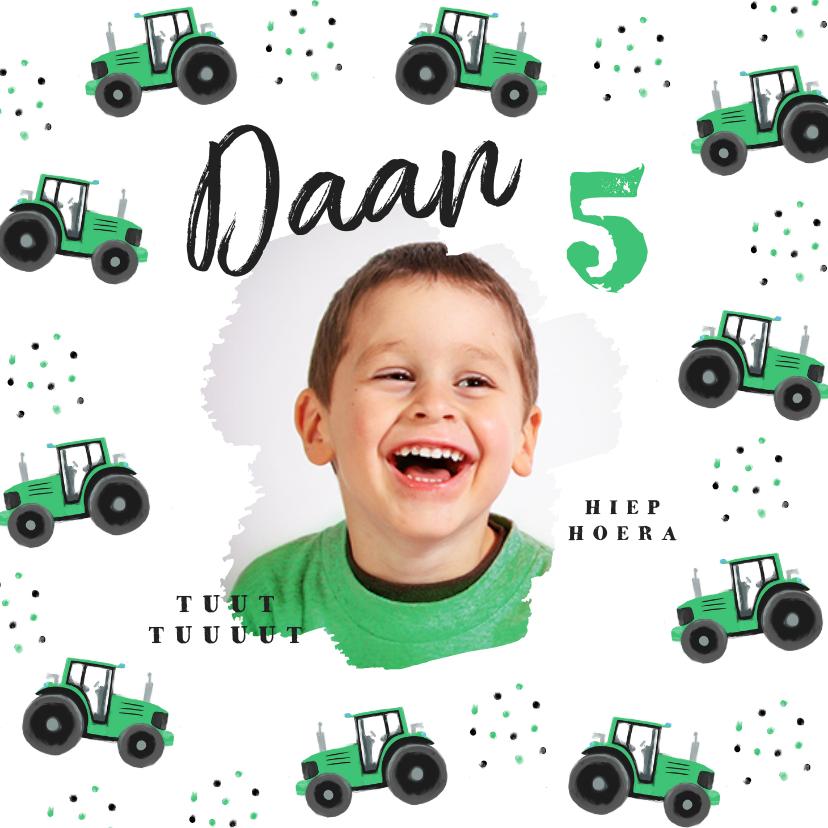 Kinderfeestjes - Kinderfeestje uitnodiging tractor hip confetti foto groen
