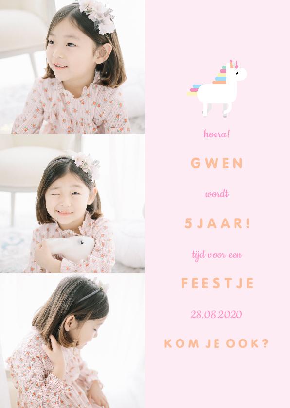 Kinderfeestjes - Kinderfeestje uitnodiging unicorn met 3 foto's