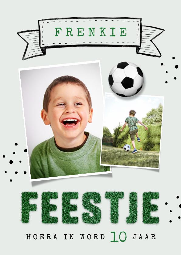 Kinderfeestjes - Kinderfeestje uitnodiging voetbal gras foto vaandel