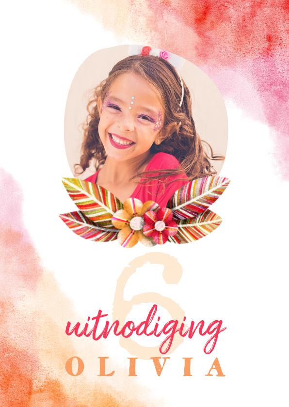 Kinderfeestjes - Kinderfeestje uitnodiging waterverf foto met bloemen