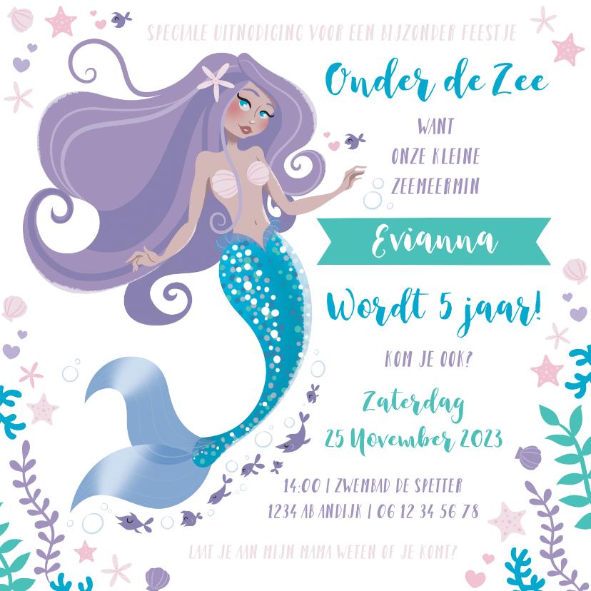 Kinderfeestjes - Kinderfeestje uitnodiging zeemeermin prinsessen zwemmen