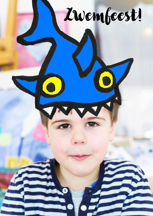 Kinderfeestjes - Kinderfeestje uitnodiging zwemfeestje haai hoed