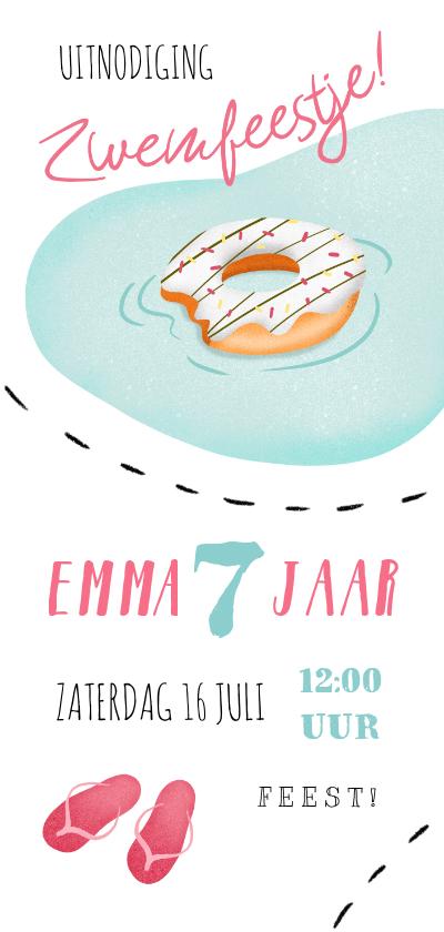 Kinderfeestjes - Kinderfeestje uitnodiging zwemmen donut slippers