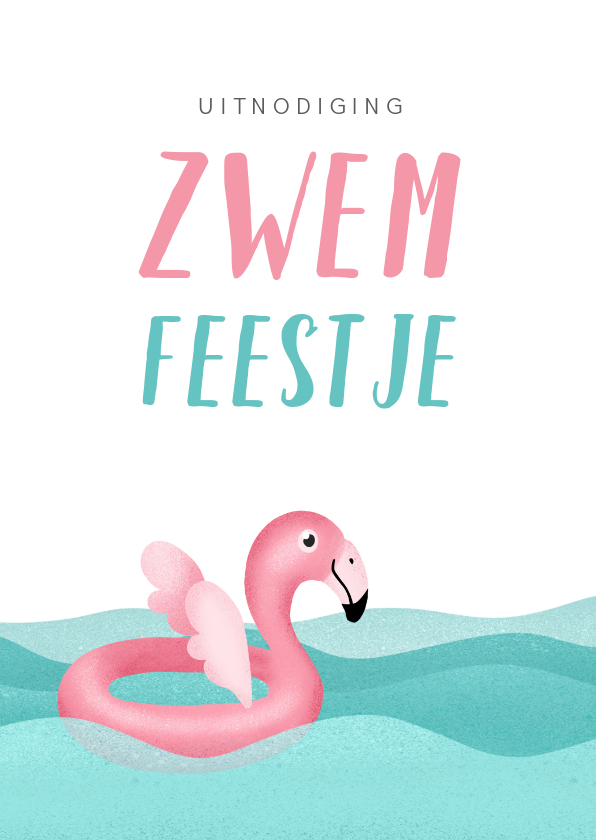 Kinderfeestjes - Kinderfeestje uitnodiging zwemmen flamingo water