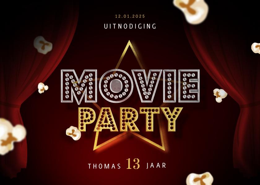 Kinderfeestjes - Kinderfeestje uitnodigingskaart bioscoop movie party popcorn