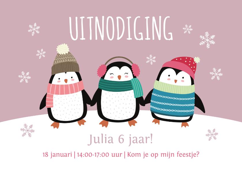 Kinderfeestjes - Kinderfeestje uitnodigingskaart pinguïns roze