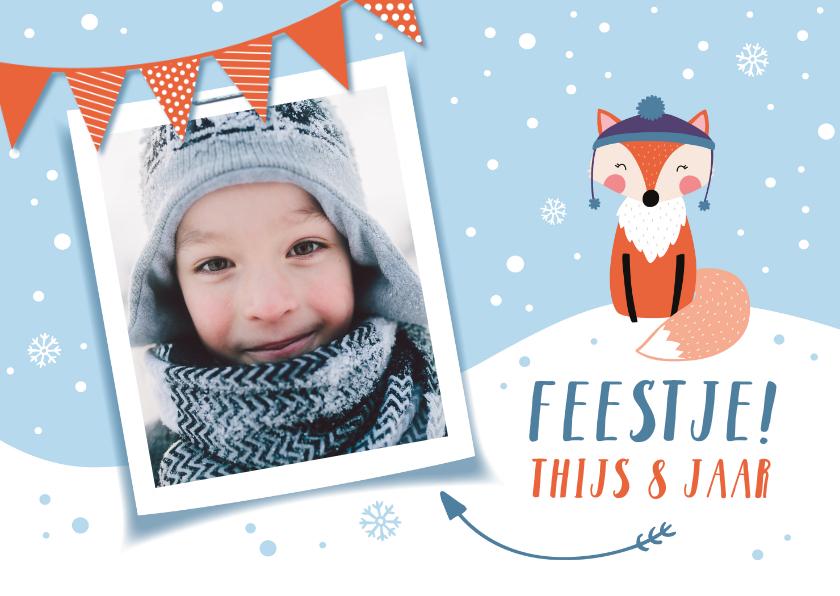 Kinderfeestjes - Kinderfeestje uitnodigingskaart winter vosje