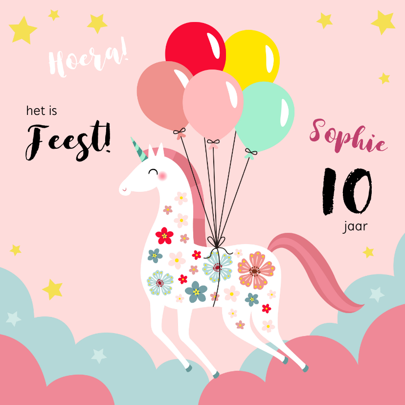 Kinderfeestjes - Kinderfeestje unicorn met bloemen en ballonnen uitnodiging