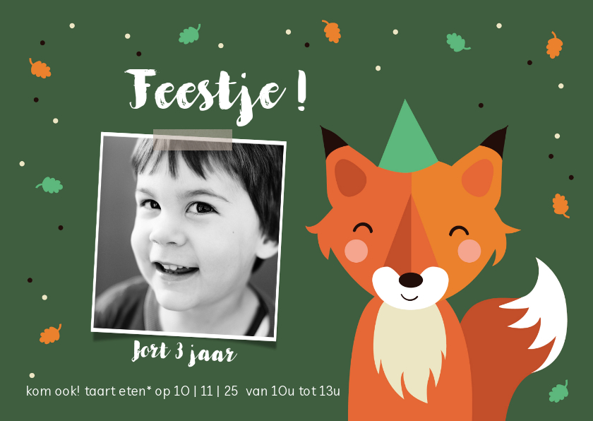 Kinderfeestjes - Kinderfeestje vos met confetti in het bos