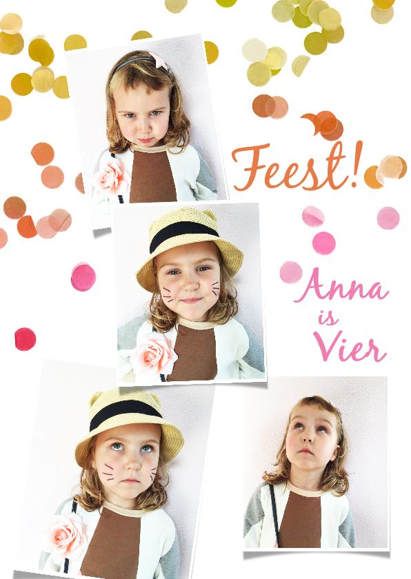 Kinderfeestjes - kinderfeestje wit fotocollage confetti