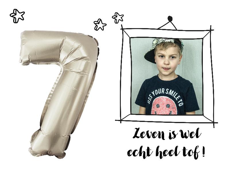 Kinderfeestjes - Kinderfeestje zeven jaar ballon zilver kleur aanpasbaar