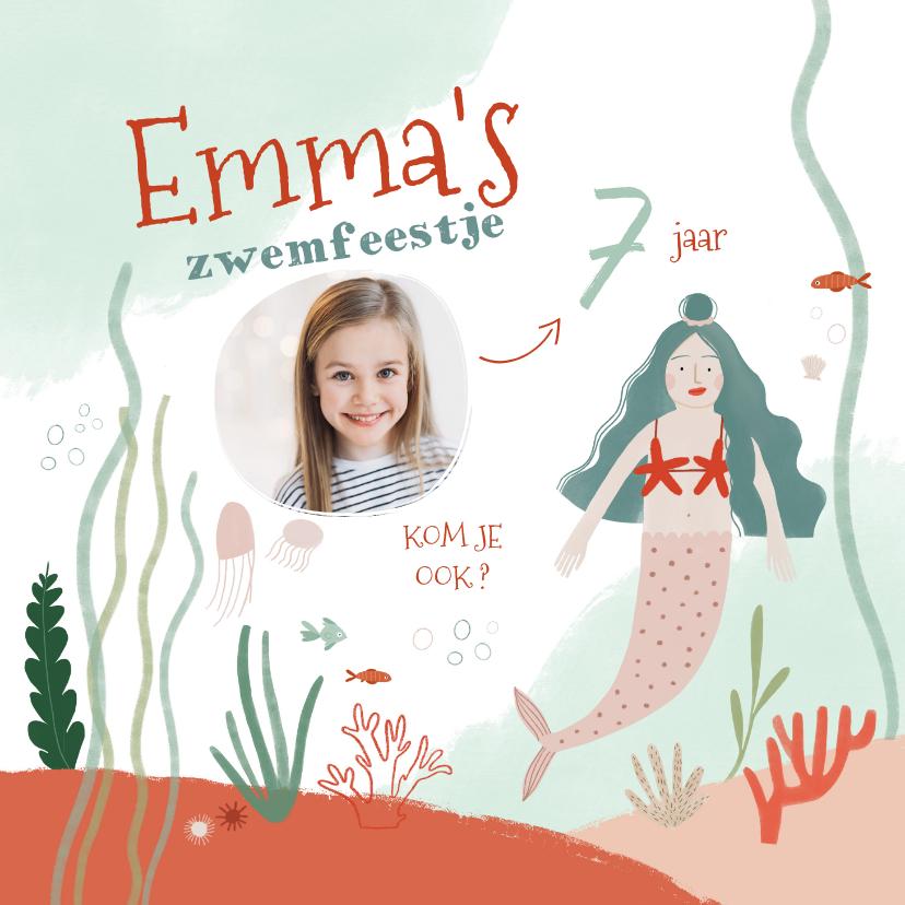 Kinderfeestjes - Kinderfeestje zwemfeestje zeemeermin onderwater uitnodiging