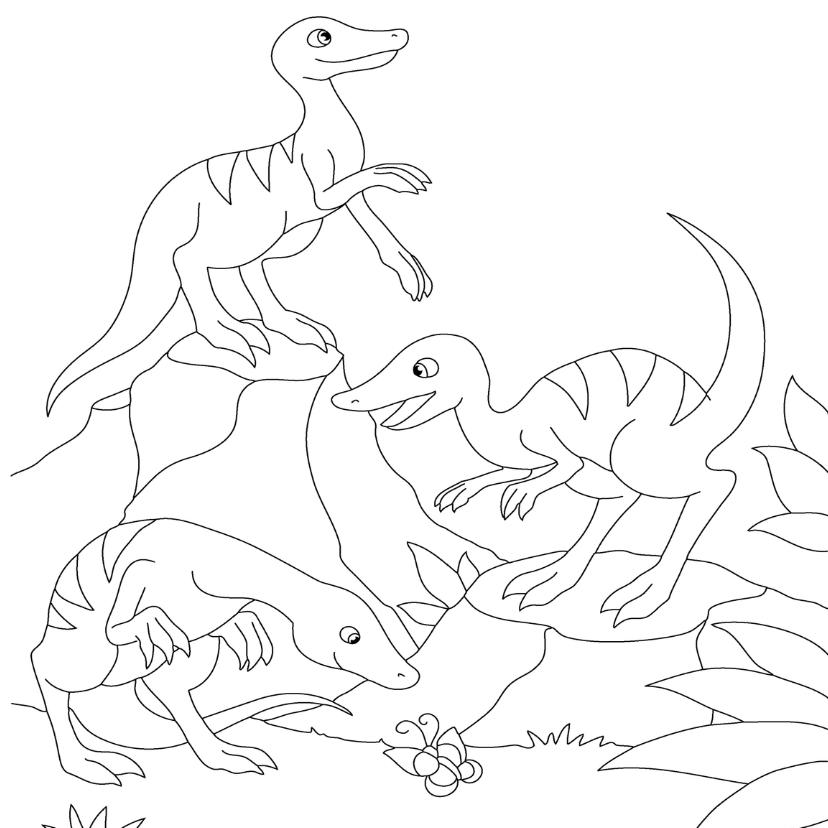 Kinderfeestjes - kleurplaatkaart dino groep- MT